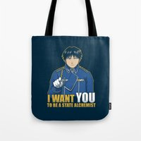 fullmetal alchemist Tote Bags featuring I Want You to be a State Alchemist by adho1982