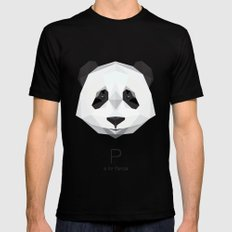 P is for Panda X-LARGE Black Mens Fitted Tee
