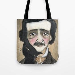 Edgar Allan Poe and the Black Cat Tote Bag