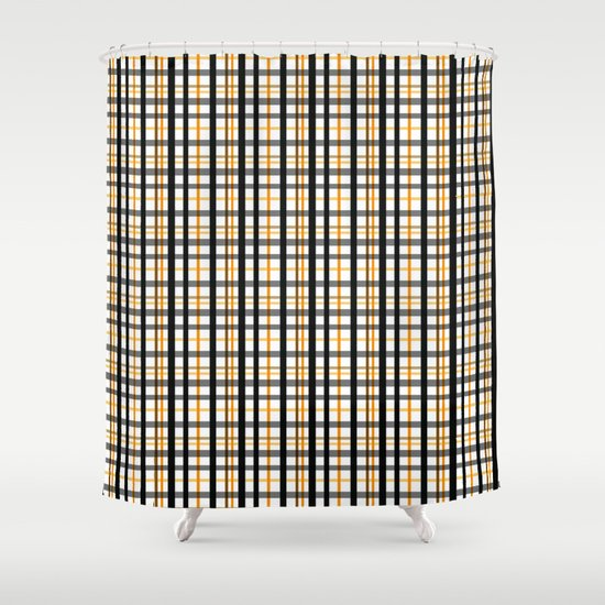 black and yellow checkered pattern shower curtain by artdeco society6. Black Bedroom Furniture Sets. Home Design Ideas