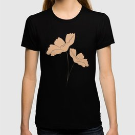 simple line art floral bouquet with khaki silhouette T-shirt