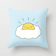 Sunny breakfast egg cloud  Throw Pillow