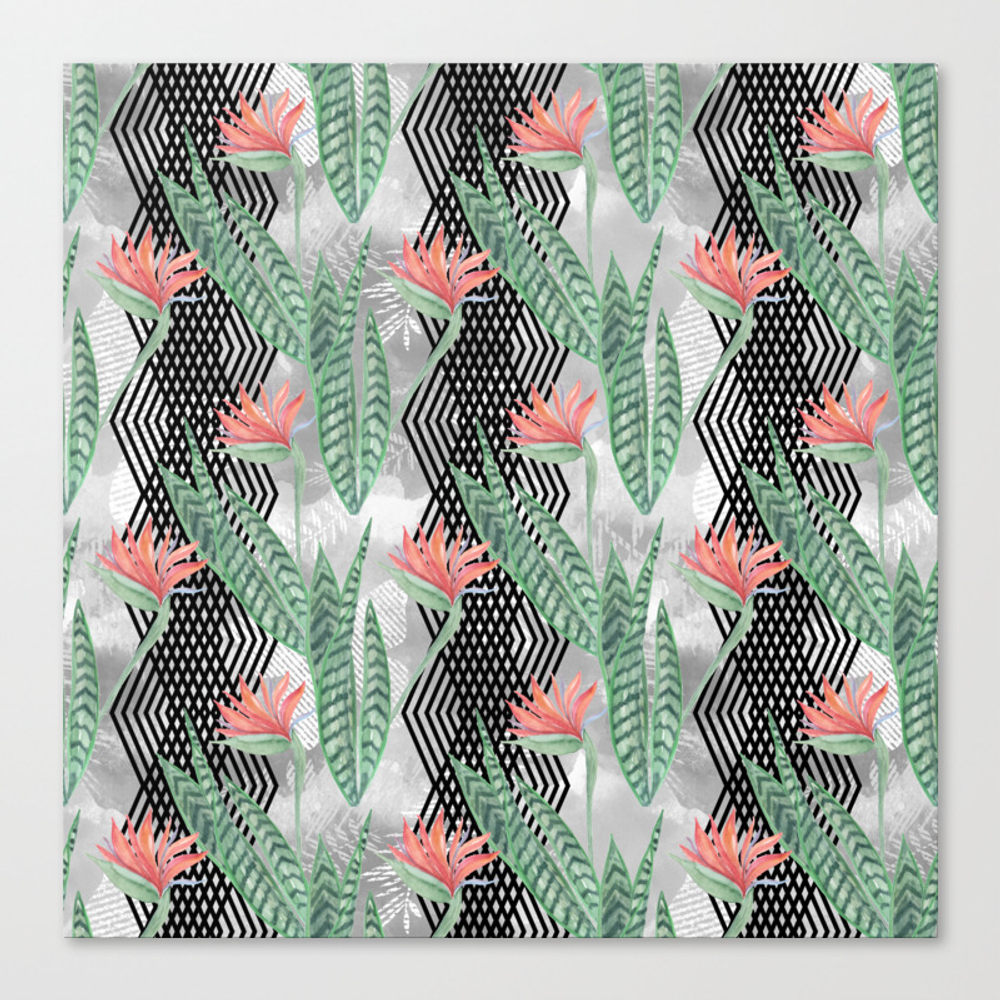 Tropical Flowers On Black Decorative Stripes. Canvas Print by Luciena CNV8481890