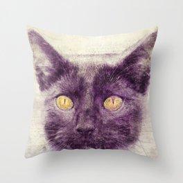 Black kitty art Throw Pillow