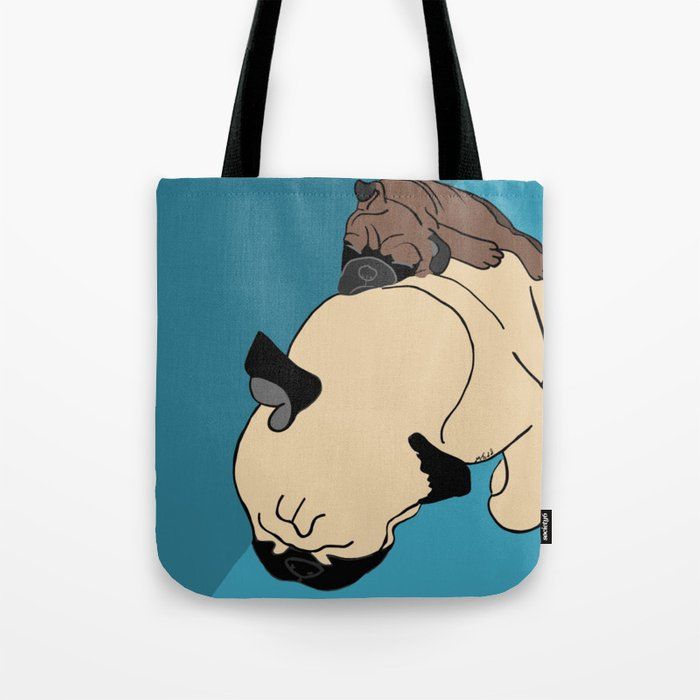 Pug and puppy napping Tote Bag