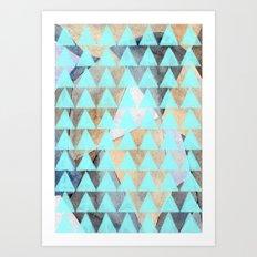 Turquoise Triangles  Art Print