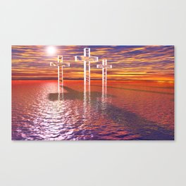 Christian crosses on red sea Canvas Print