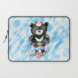 Bear on ski Laptop Sleeve