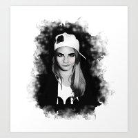 cara delevingne Art Prints featuring Cara Delevingne by BeckiBoos