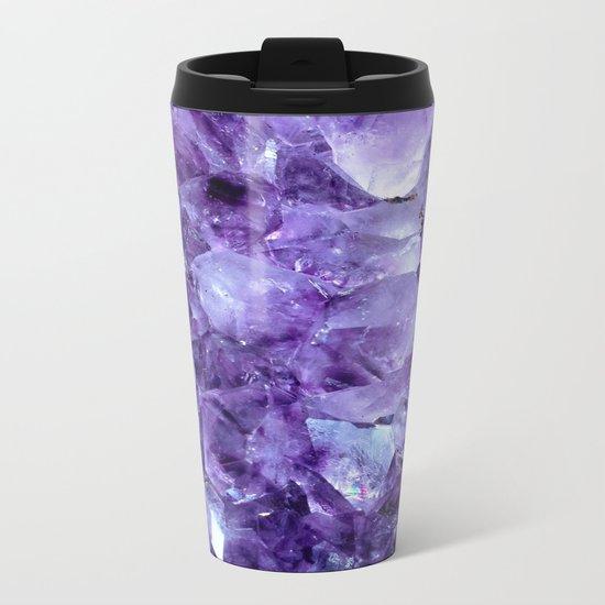 Amethyst Crystals Metal Travel Mug