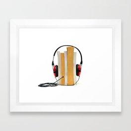 audiobook concept book with audio headphone Framed Art Print