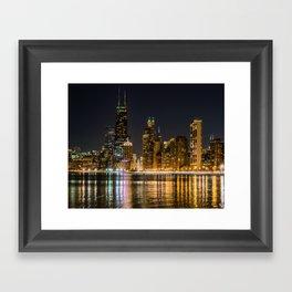 Chicago North Shore Skyline Night Framed Art Print