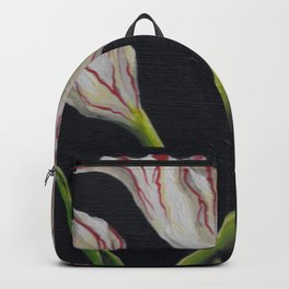 Striped Tulip on Black Backpack