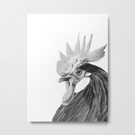 Black and White Rooster Metal Print