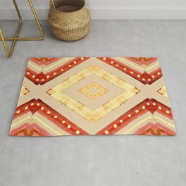 Single Gold Diamond with Red Accent Rug