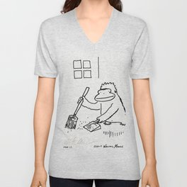 Ape with Broom and Dustpan Unisex V-Neck