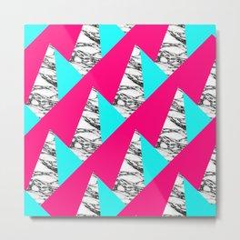 Modern Pink Teal Black White Marble Geometric Metal Print