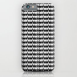 Black and White Womens Makeup Stripes iPhone Case