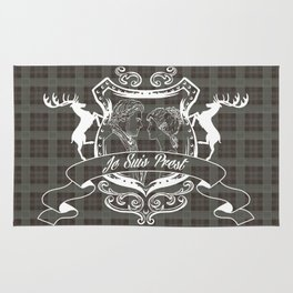 Outlander plaid with Je Suis Prest crest Rug