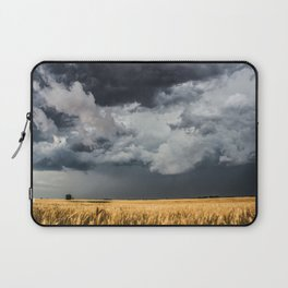 Cotton Candy - Storm Clouds Over Wheat Field in Kansas Laptop Sleeve