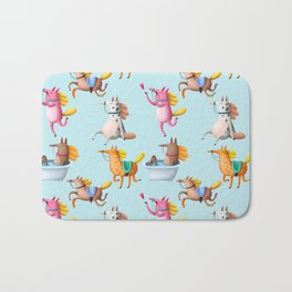 Cute and Whimsical Horse Pattern on Light Blue Bath Mat