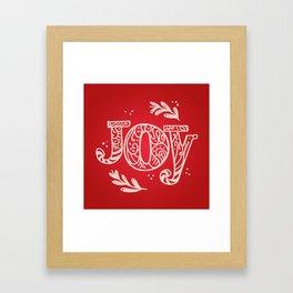 Joy Festive Design for Christmas in Red and Beige Framed Art Print