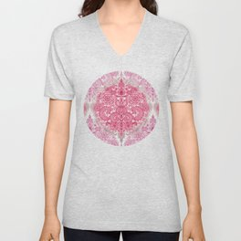 Happy Place Doodle in Berry Pink, Cream & Mauve Unisex V-Neck