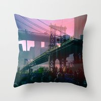 dumbo Throw Pillows featuring DUMBO Bridge by E.R.