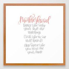 Motherhood Handlettered Quote Framed Art Print