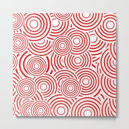 circles in red and white Metal Print