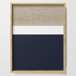 Faux Burlap, White, and Navy Minimalist Color Block 2  Serving Tray