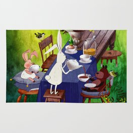 Bunny Tea Party in forest Rug