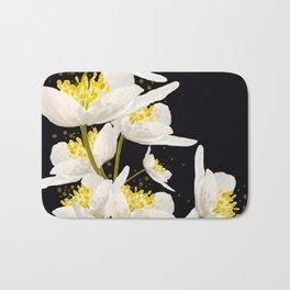White Flowers On A Black Background #decor #buyart #society6 Bath Mat