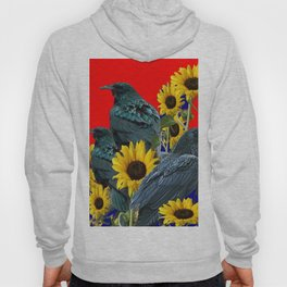 DECORATIVE RED ART SUNFLOWERS & CROW/RAVENS COVEN Hoody