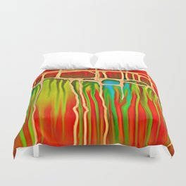 Distant Trees in Orange and Lime Duvet Cover