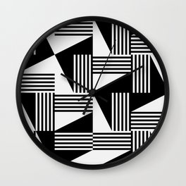 MID CENTURY MODERN Geometric Dynamic Triangle Pattern Black and White  Wall Clock