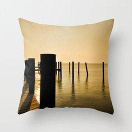 The Sunlit Dock Throw Pillow