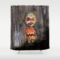 charlie brown Shower Curtains featuring You're a zombie Charlie Brown by byron rempel