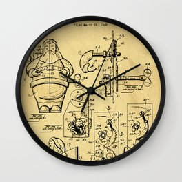 Santa Claus Bank Support Patent Drawing From 1953 Wall Clock