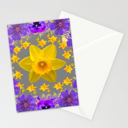 ULTRA VIOLET PURPLE & YELLOW FLOWERS ART DESIGN Stationery Cards