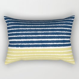 Gold and Navy Blue brush Strokes Rectangular Pillow