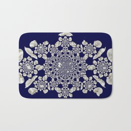 White orchid navy background Bath Mat