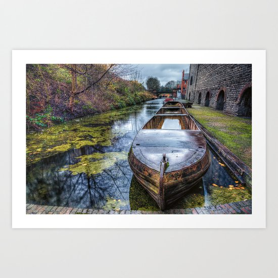 Vintage Canal Boat Art Print