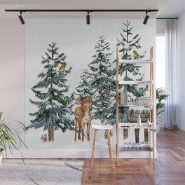 Christmas Winter Wonderland Fawn Wall Mural