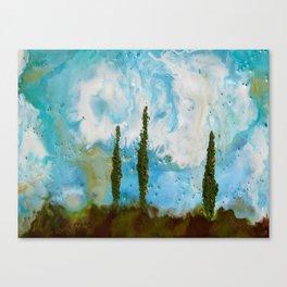 Tuscan Sunset original Encaustic wax painting by Seasons Kaz Sparks Canvas Print
