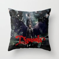 dracula Throw Pillows featuring Dracula by nurfiestore2u