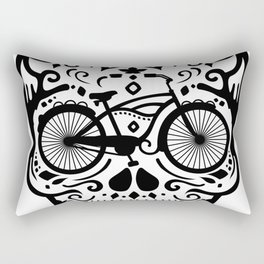 Vintage Mexican Skull with Bicycle - black and white Rectangular Pillow