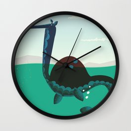 Loch Ness Monster vintage 'children's book' travel poster Wall Clock