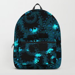 blue pattern of soap bubbles and gears in azure Backpack