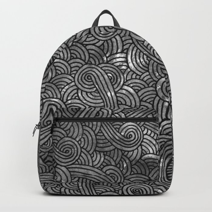 Grey and black swirls doodles Backpack